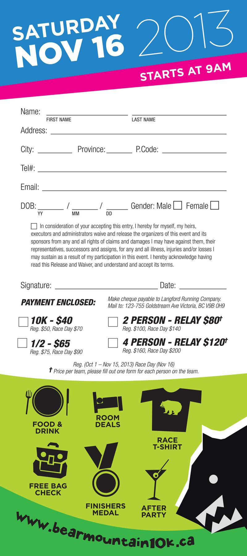 Bear Mountain 10k RACK CARD design