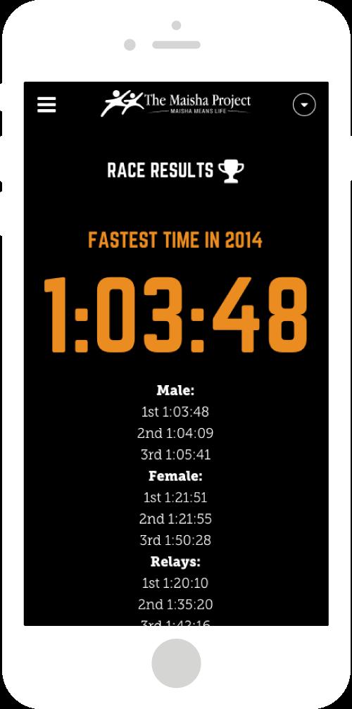 Run for Life Marathon Site Mobile Design