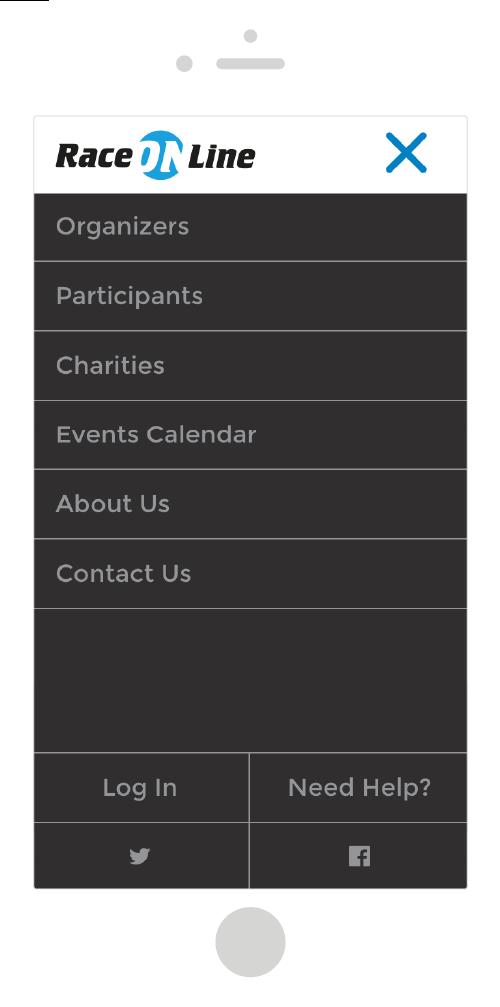 Race Online Mobile Site Design