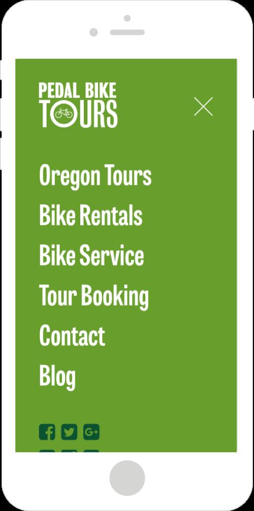 Pedal Bike Tours Mobile Website Design