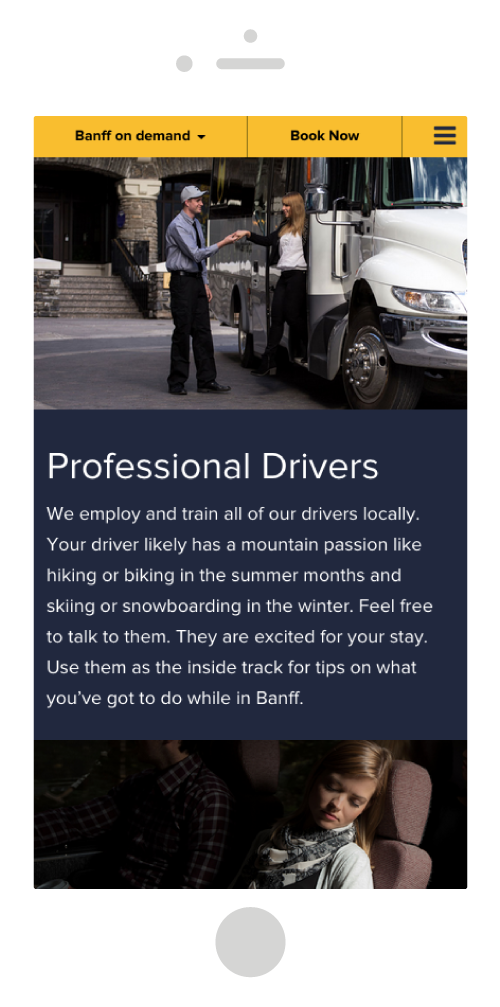 Banff Airporter Site Mobile Design