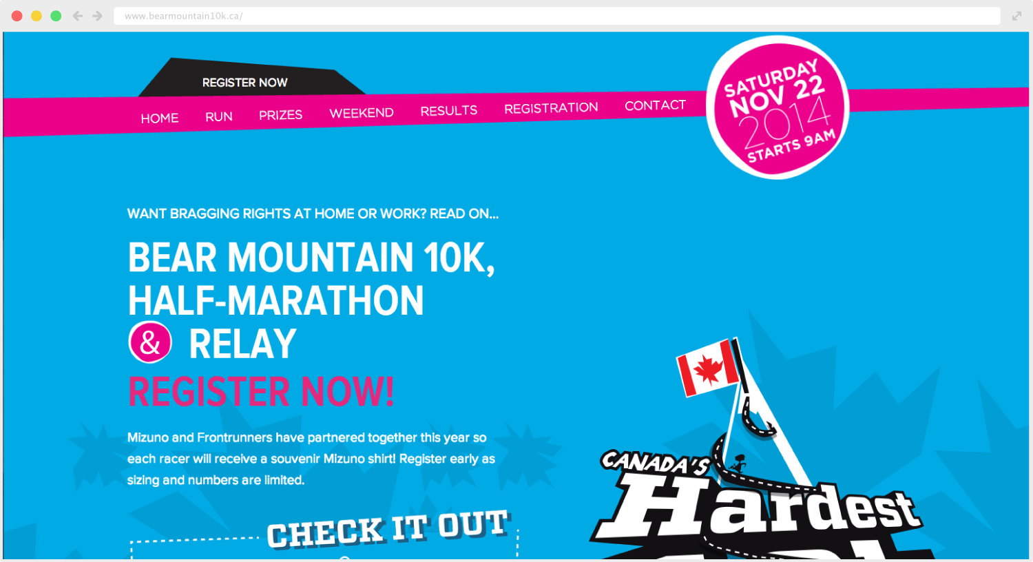 Bear Mountain 10k website design