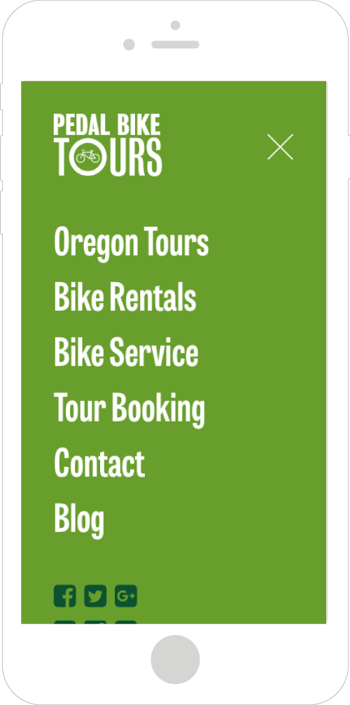 Pedal Bike Tours Mobile Website Design